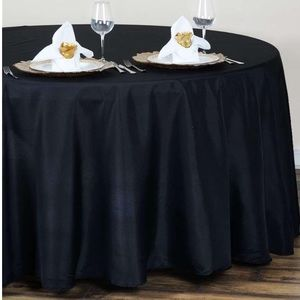 """Dining - 120"""" Black Polyester Round Tablecloth"""